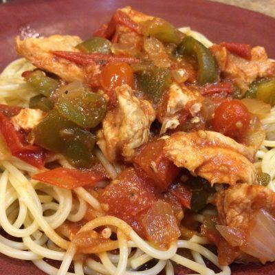 Easy Slow Cooker Chicken Cacciatore and Spaghetti