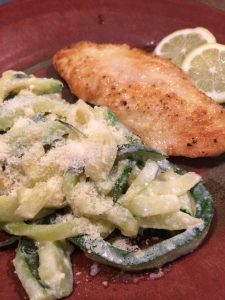 A flavorful lemon chicken recipe paired with tasty Zoodles Alfredo Recipe