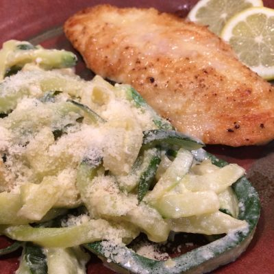 Easy Lemon Chicken with Zucchini in Alfredo Sauce