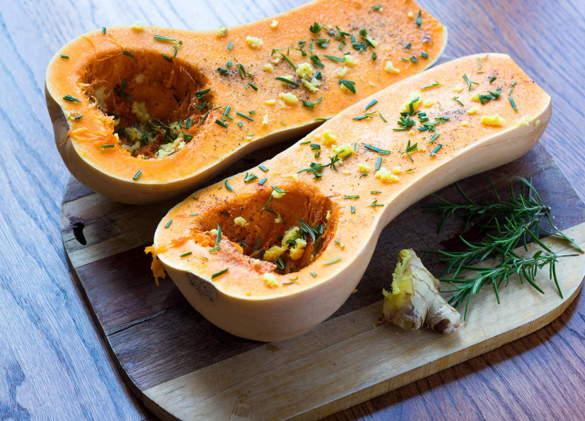 easy roasted butternut squash soup with rosemary and ginger no