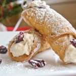 White Chocolate Cranberry Cannolis with Craisins and white chocolate chips