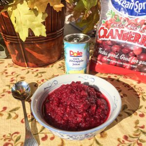 Fresh Lemon Ginger Cranberry Relish made with pineapple , ginger, sugar, cloves and cranberries
