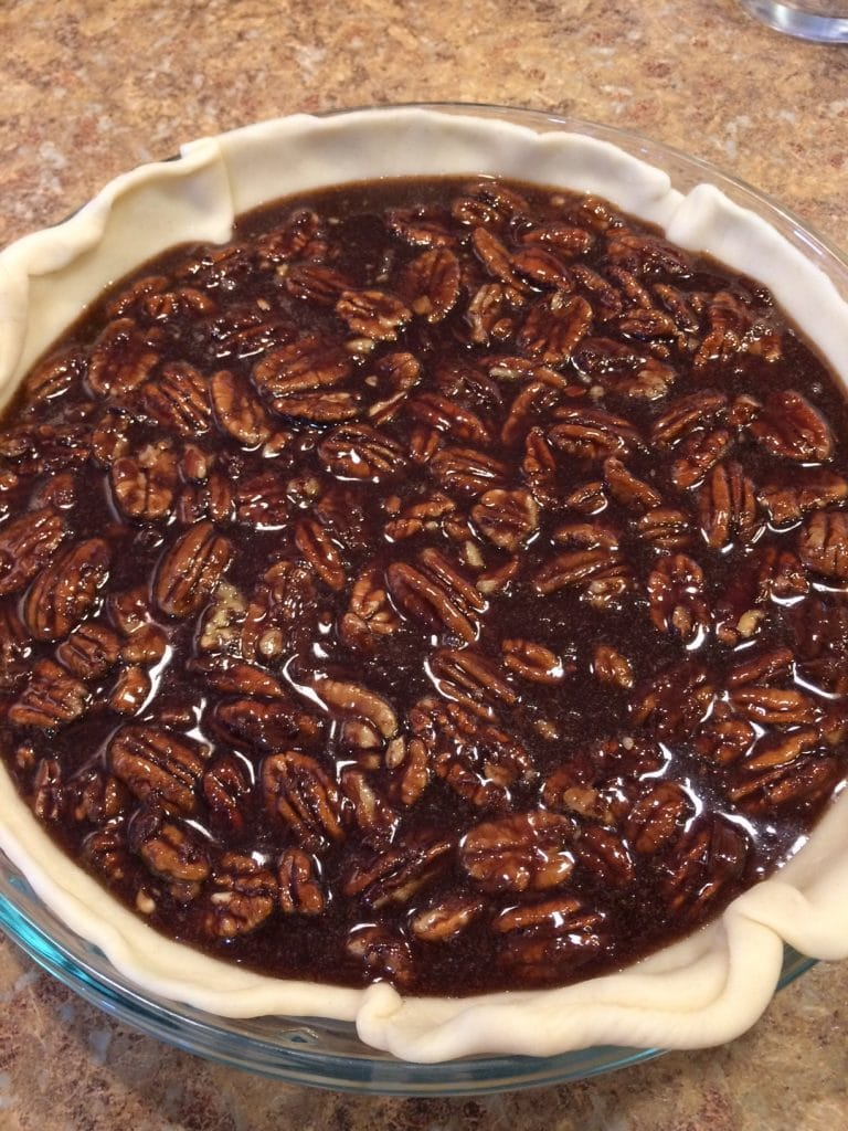 Raw pecan pie filling