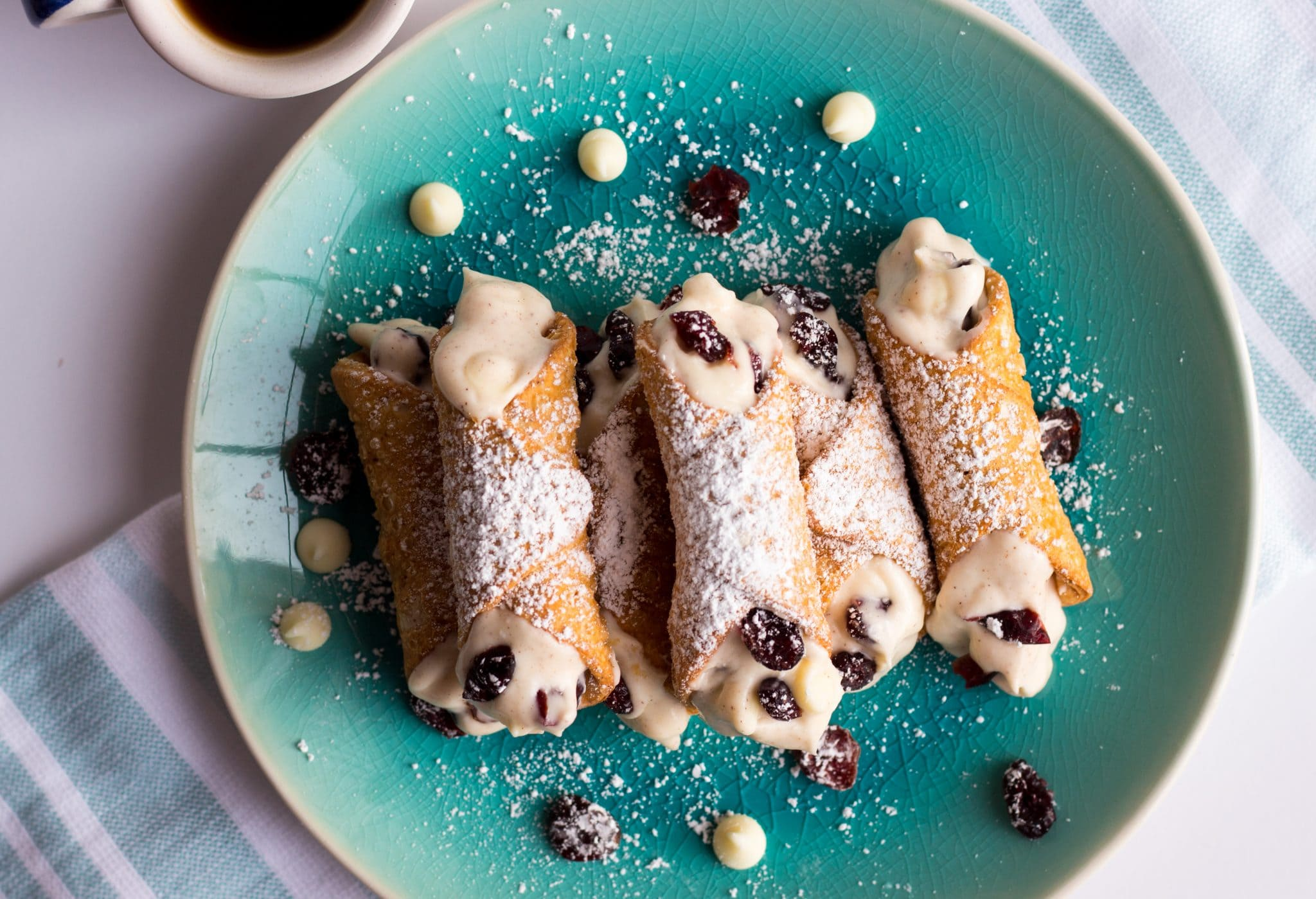 White Chocolate Cranberry Cannolis