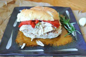 Slow Cooker Italian Pork Sandwich serving suggestion