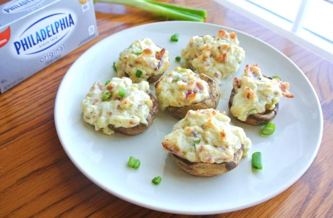 Easy Bacon Blue Cheese Stuffed Mushrooms