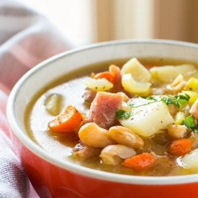One Pot Ham, Potato and Bean Soup