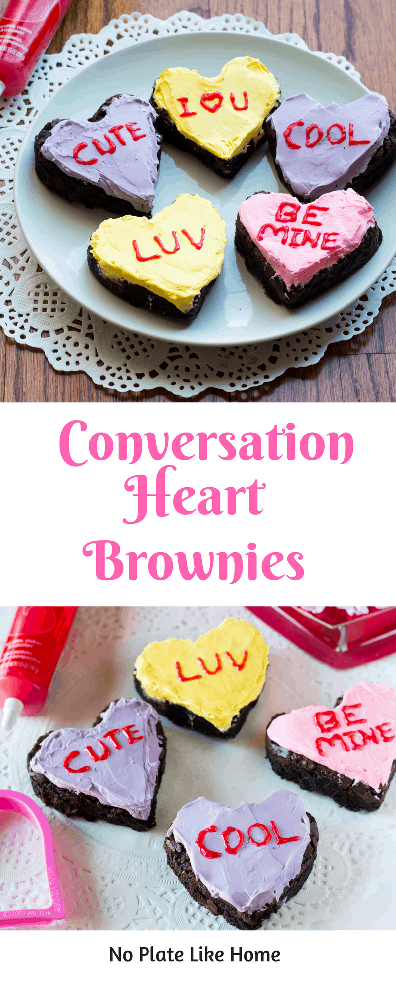 "Conversation Heart Chocolate Brownies are a cute way to say ""I love you"" to your sweetheart on Valentines Day using a homemade brownie and icing recipe."