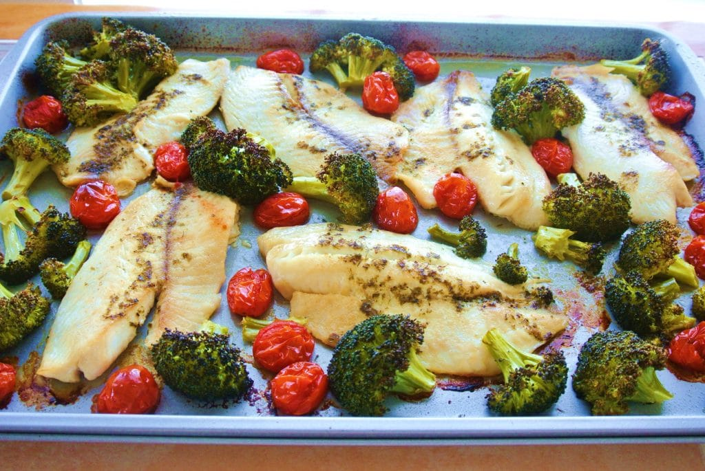Sheet Pan Roasted Tillapia and Broccoli with Tomatoes