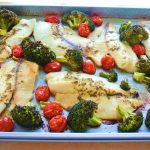 Sheet Pan Roasted Tilapia and Broccoli with Tomatoes