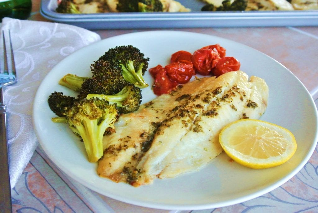 Roasted Tilapia, Broccoli & Tomatoes Sheet Pan Dinner