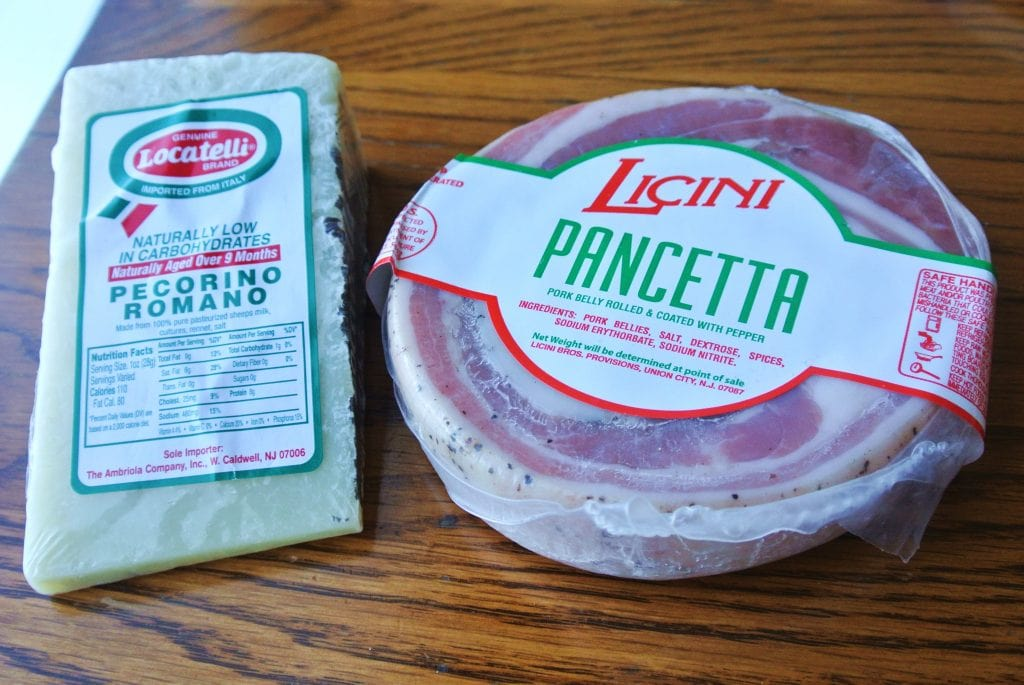 Pecorino Romano cheese and Pancetta (pork, similar to bacon)