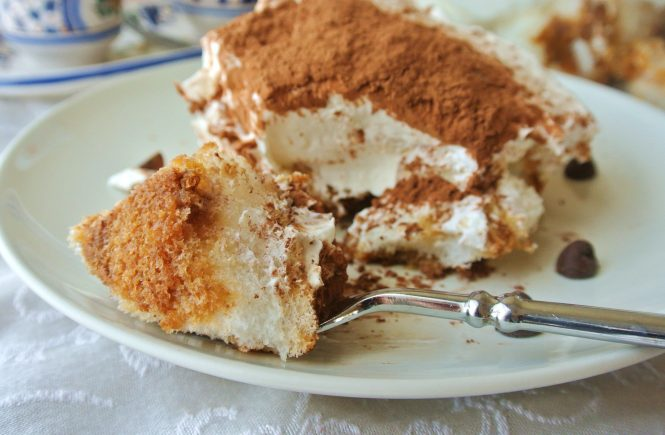 Light Tiramisu recipe with coffee liquor, Cool Whip, Neufchatel cheese and chocolate chips
