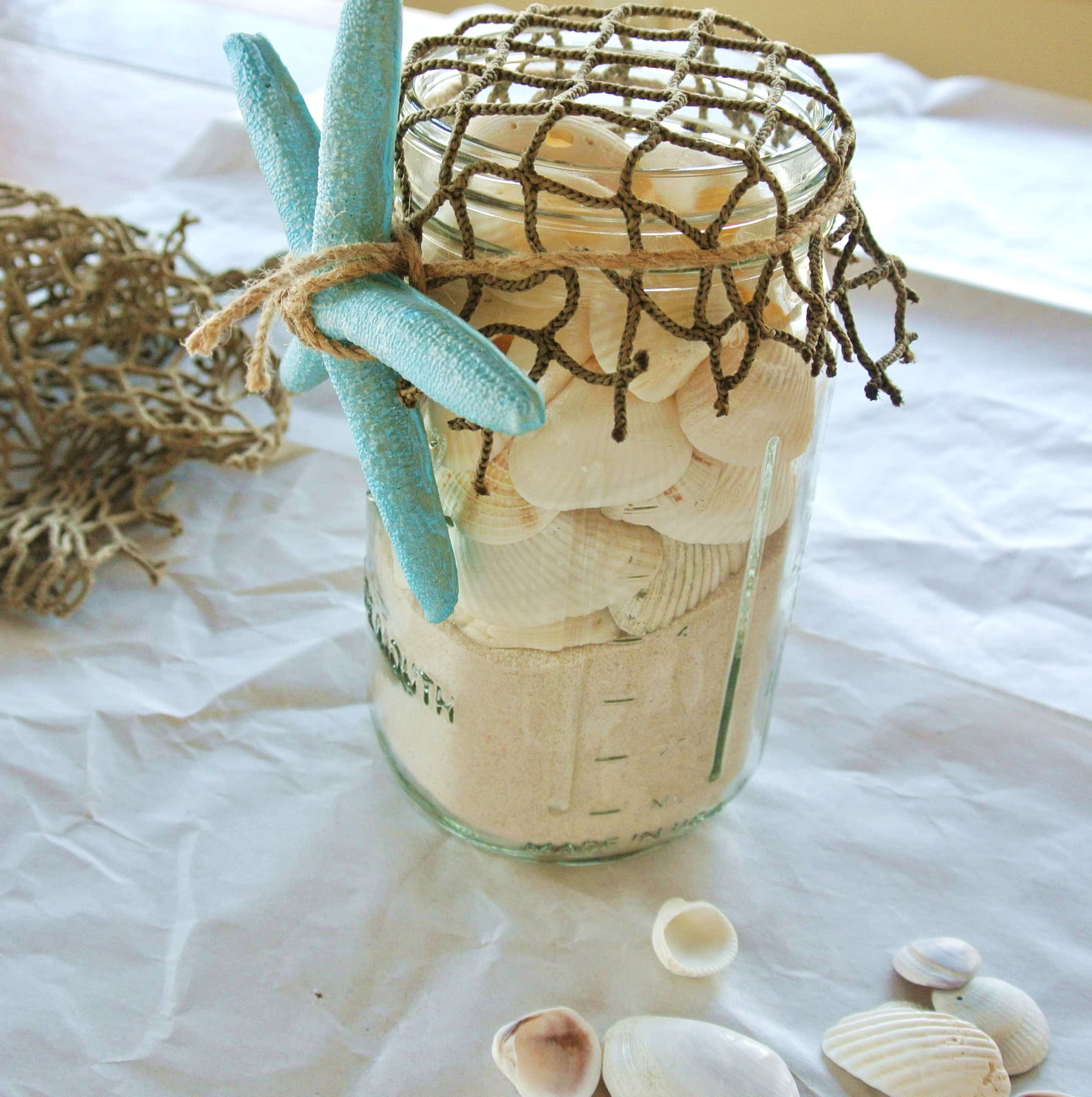 Easy Diy Seashell Mason Jar Beach Craft No Plate Like Home