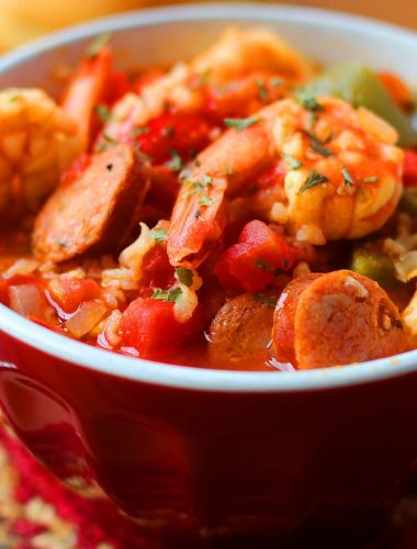 One Pot Jambalaya with Shrimp and Andouille Sausage