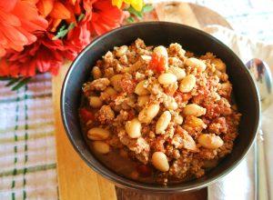 One Pot Skinny White Bean Turkey Chili