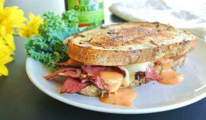 Tasty Reuben Pastrami on Rye Bread Sandwich