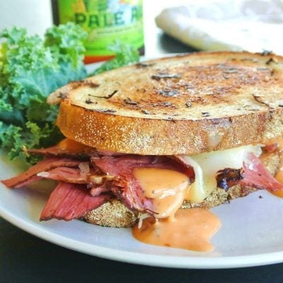 Tasty Reuben Pastrami on Rye Bread Sandwich