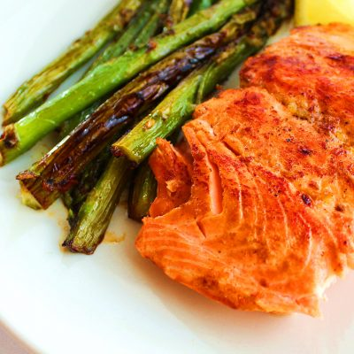 One Pot Honey Lemon Salmon with Asparagus