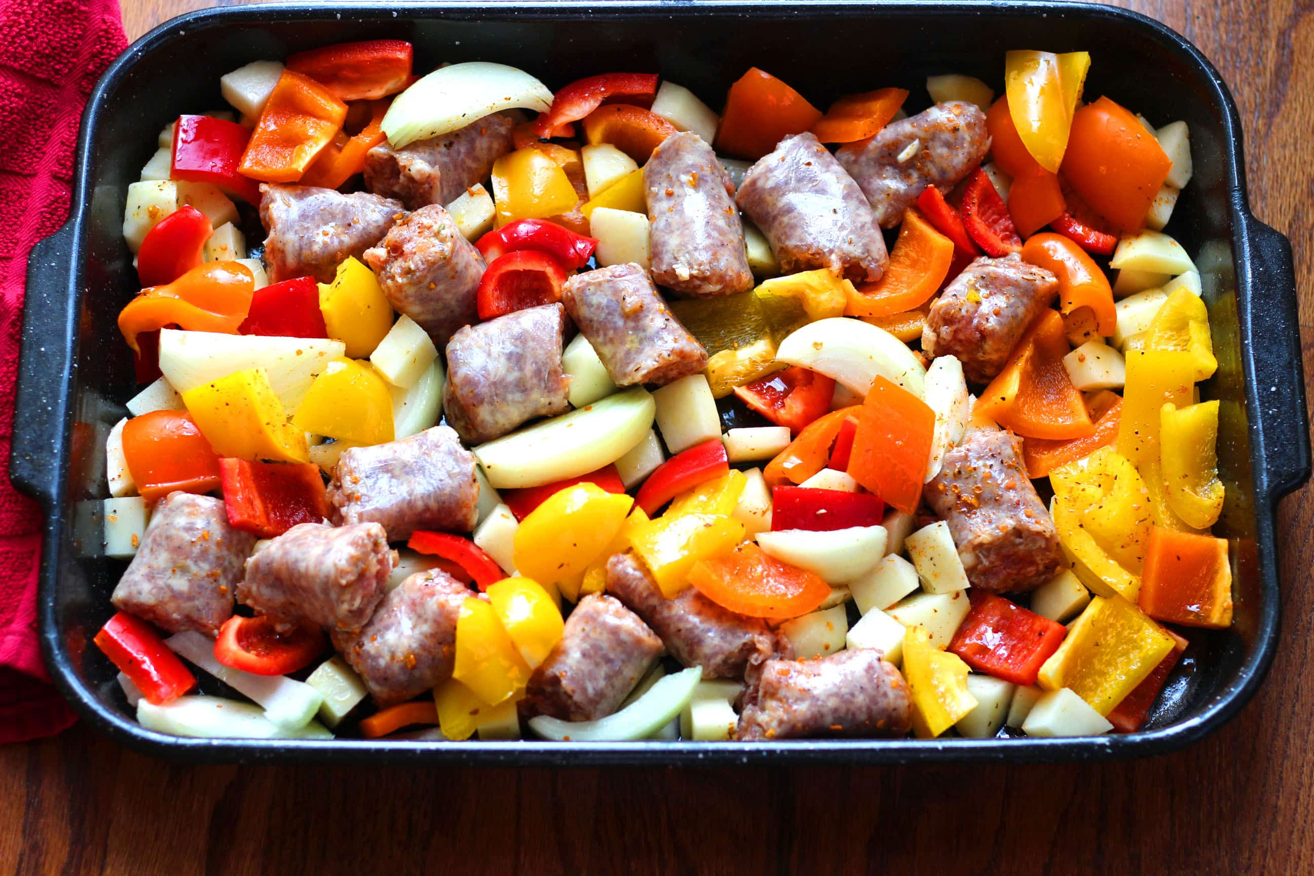 Italian Sausage Peppers Onions and Potatoes Sheet Pan Dinner
