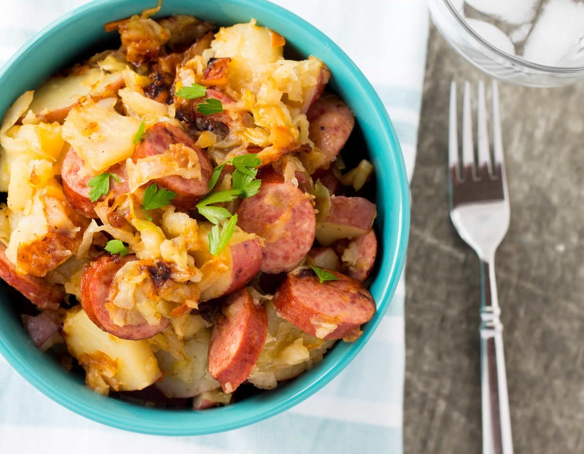 One Pot Turkey Kielbasa, Red Potato and Fried Cabbage