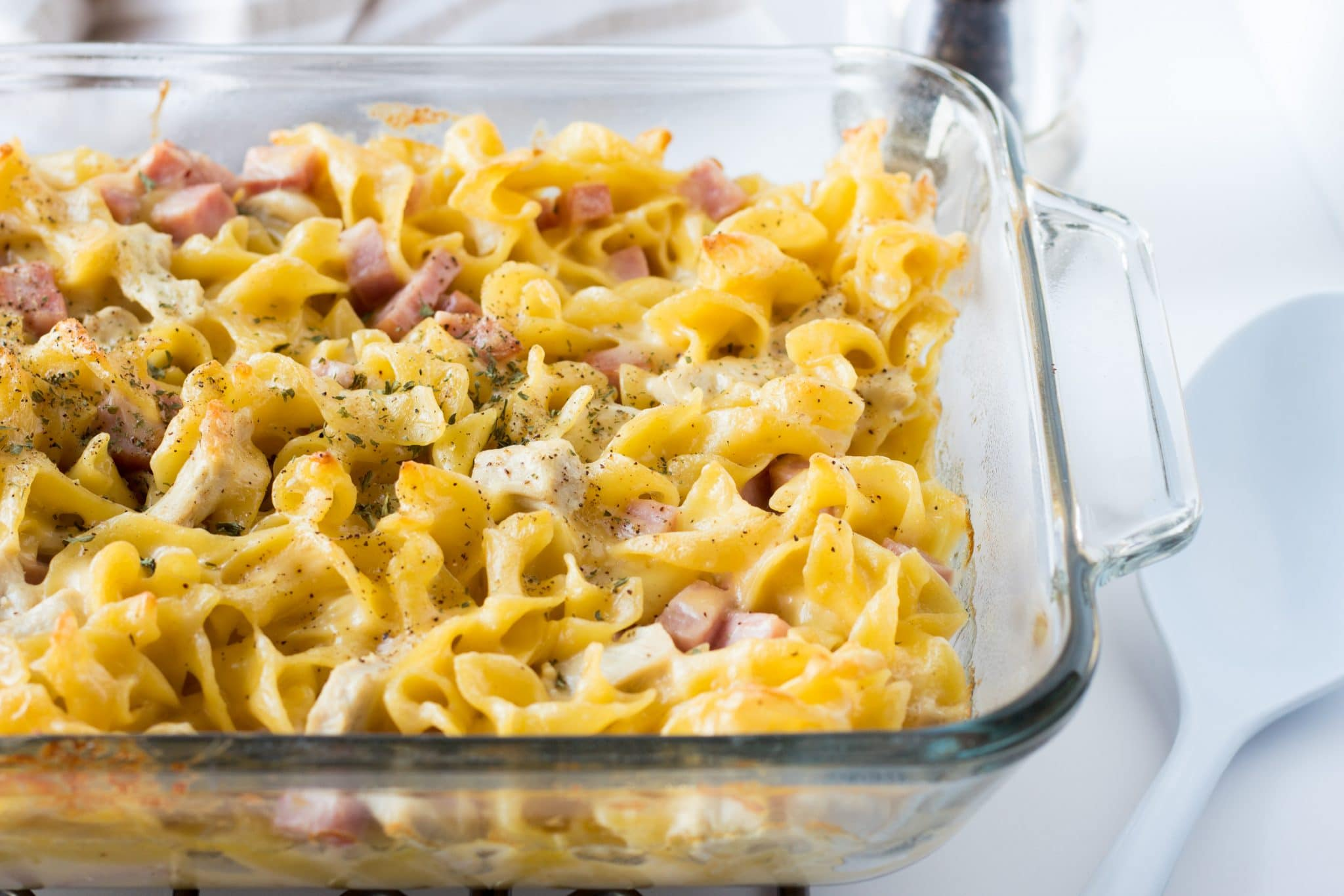 Cheesy Ham and Turkey Noodle Casserole