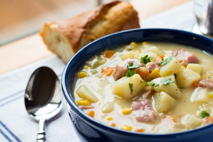 One Pot Ham, Potato and Corn Chowder