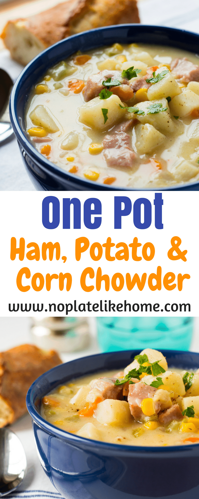 One Pot Ham, Potato and Corn Chowder is the perfect comfort food for rainy, cold days.