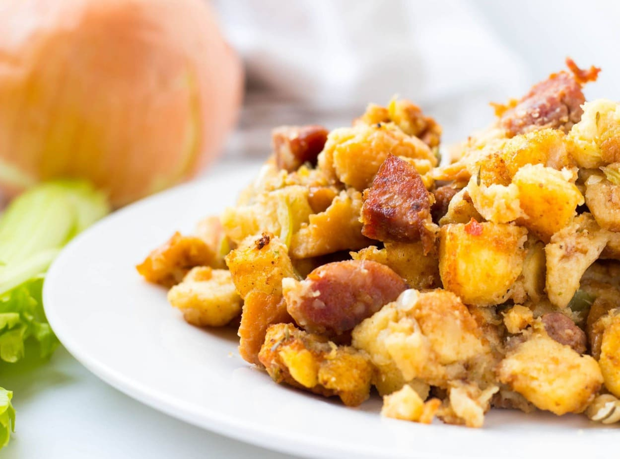 Adouille Sausage and Potato Bread Stuffing