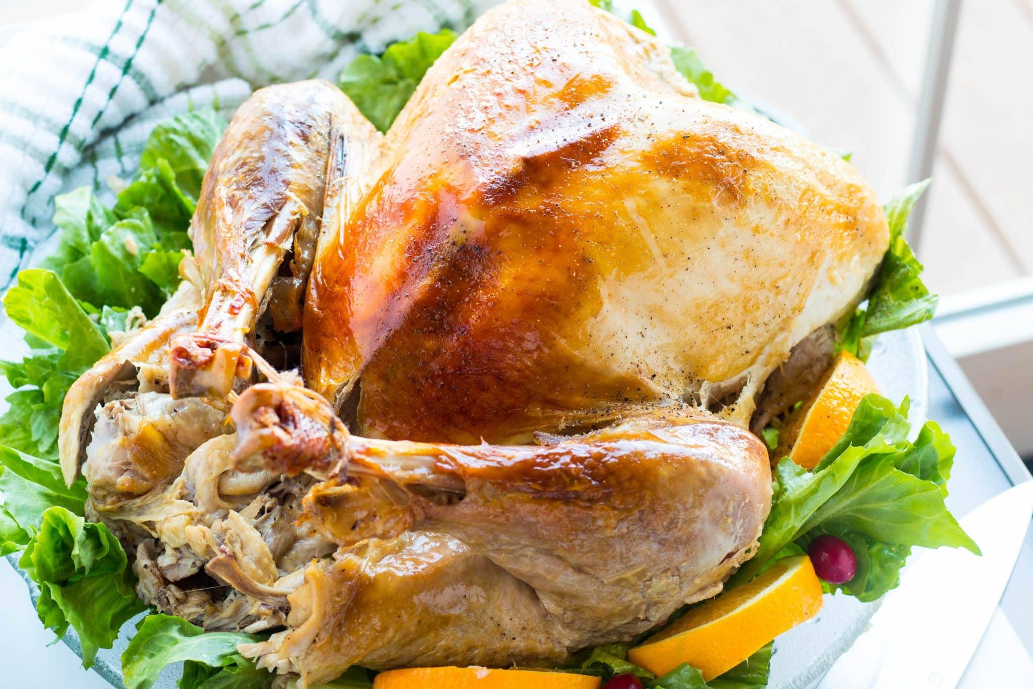 roasted turkey with citrus apple cider vinegar brine