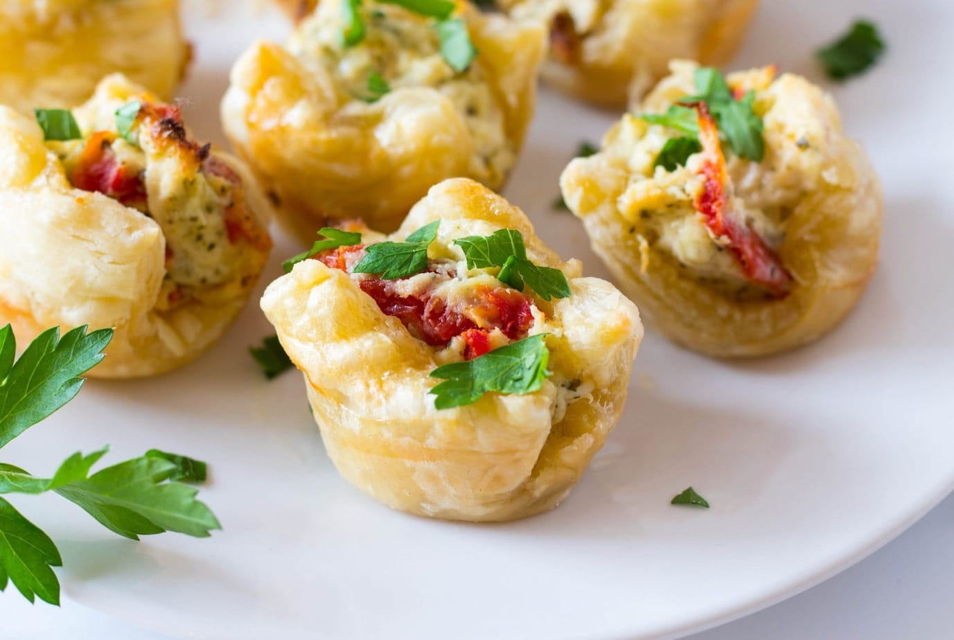 Puff Pastry Pesto Chicken Bites Appetizer