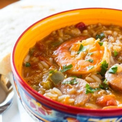 One Pot Creole Chicken, Sausage and Shrimp Gumbo