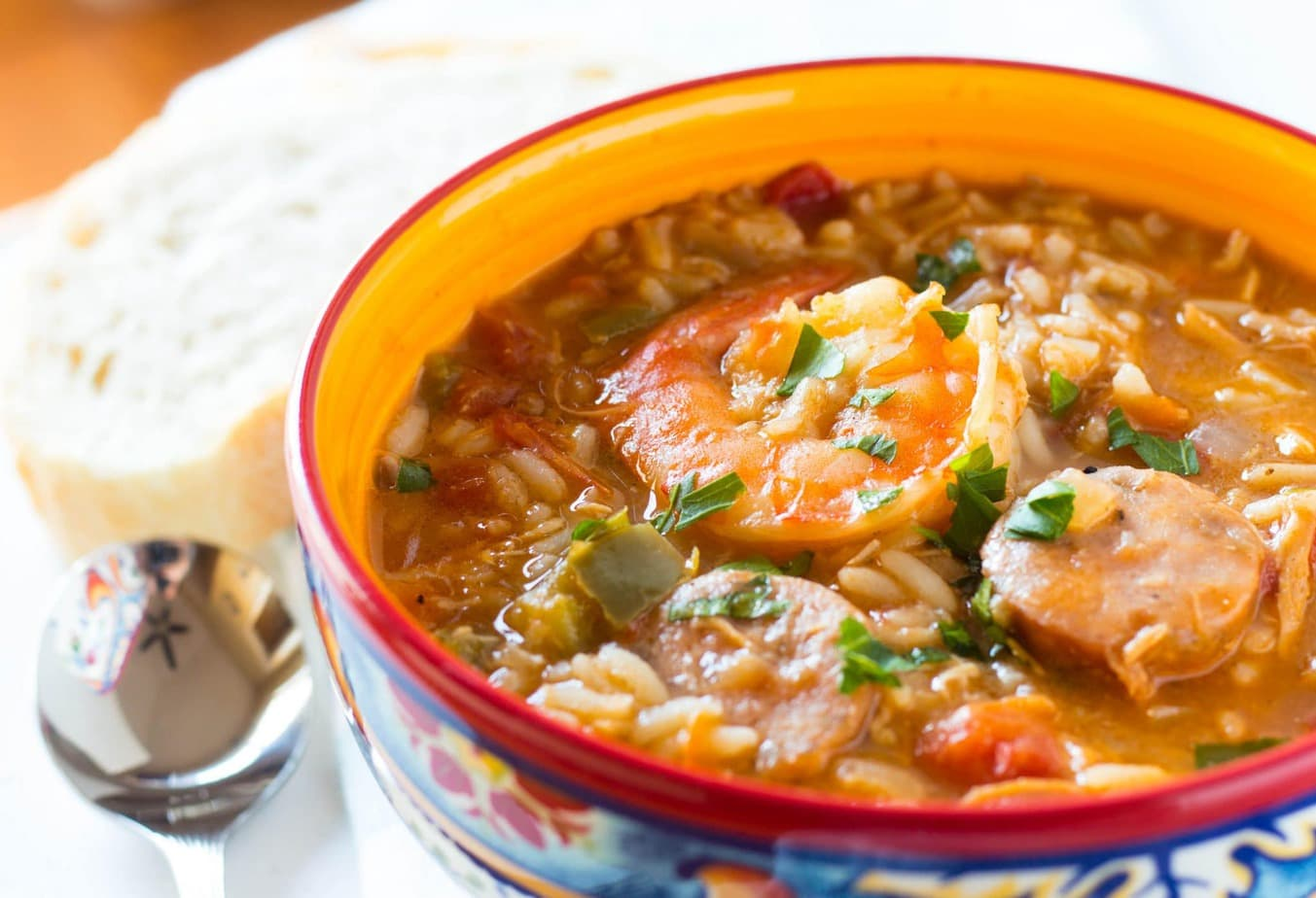 One Pot Creole Chicken, Sausage and Shrimp Gumbo is a tasty and complete meal in one. With chicken and apple sausage and lots of veggies, your family will love this flavor!