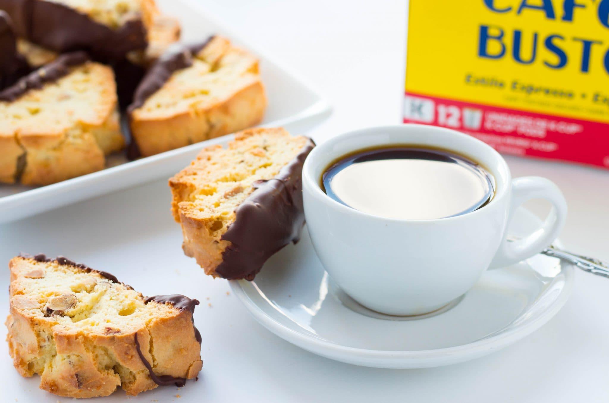 """""""Chocolate-Dipped Amaretto Biscotti"""