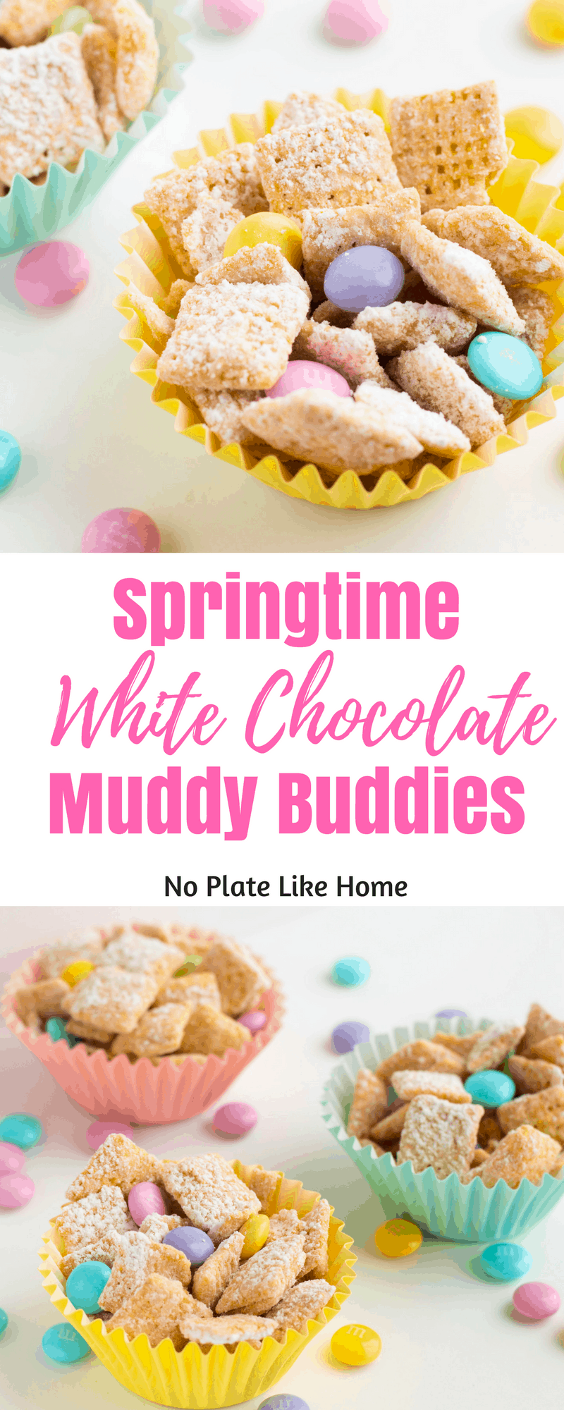 Springtime White Chocolate Muddy Buddies