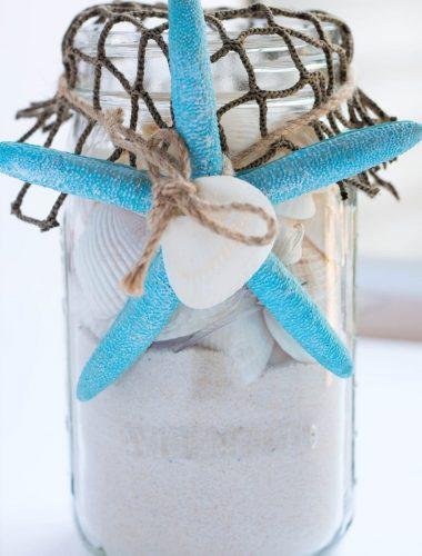 Mason Jar Sea Shell Beach Craft