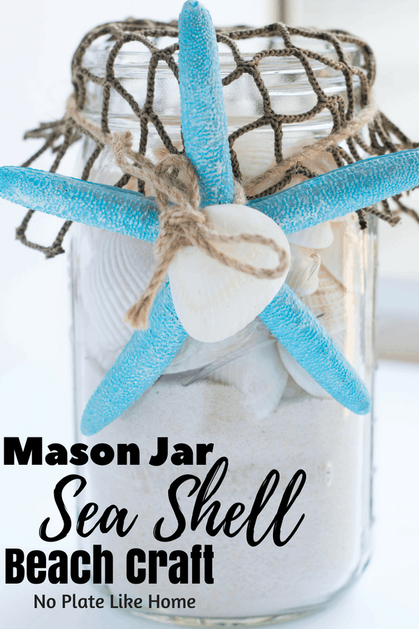 Sea Shell Mason Jar Beach Craft