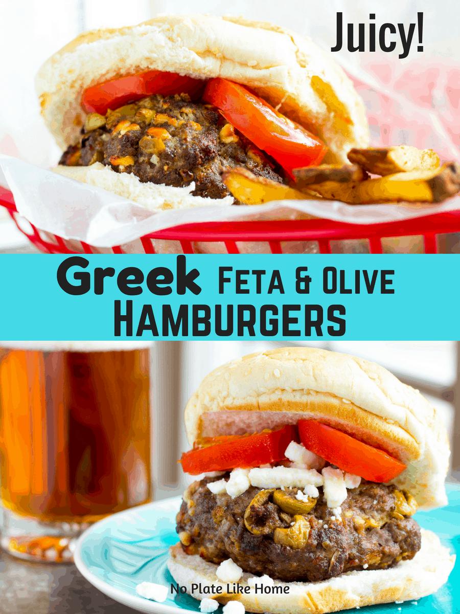 Air Fryer Greek Feta & Olive Hamburgers