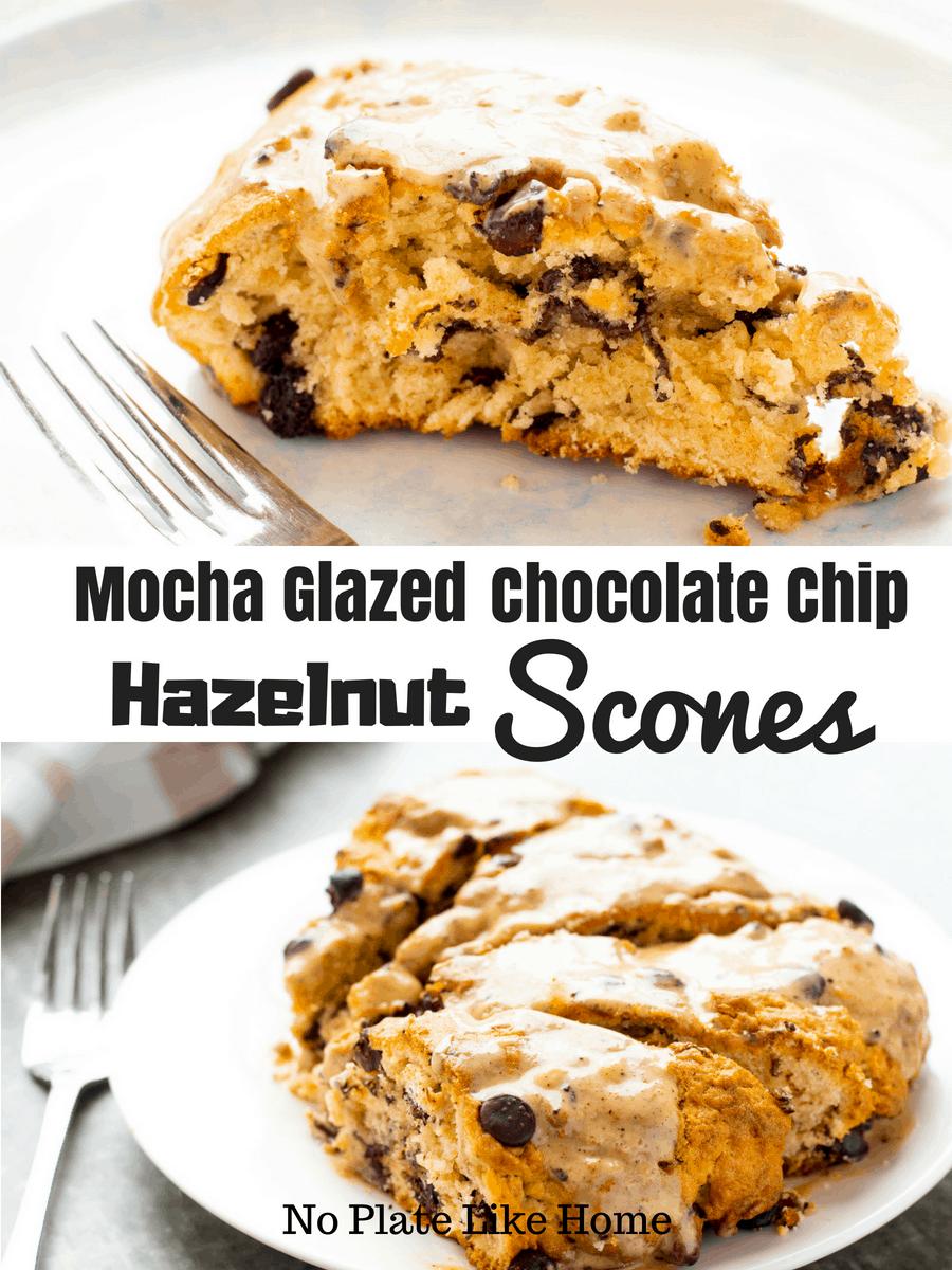 Mocha Glazed Chocolate Chip Hazelnut Scones