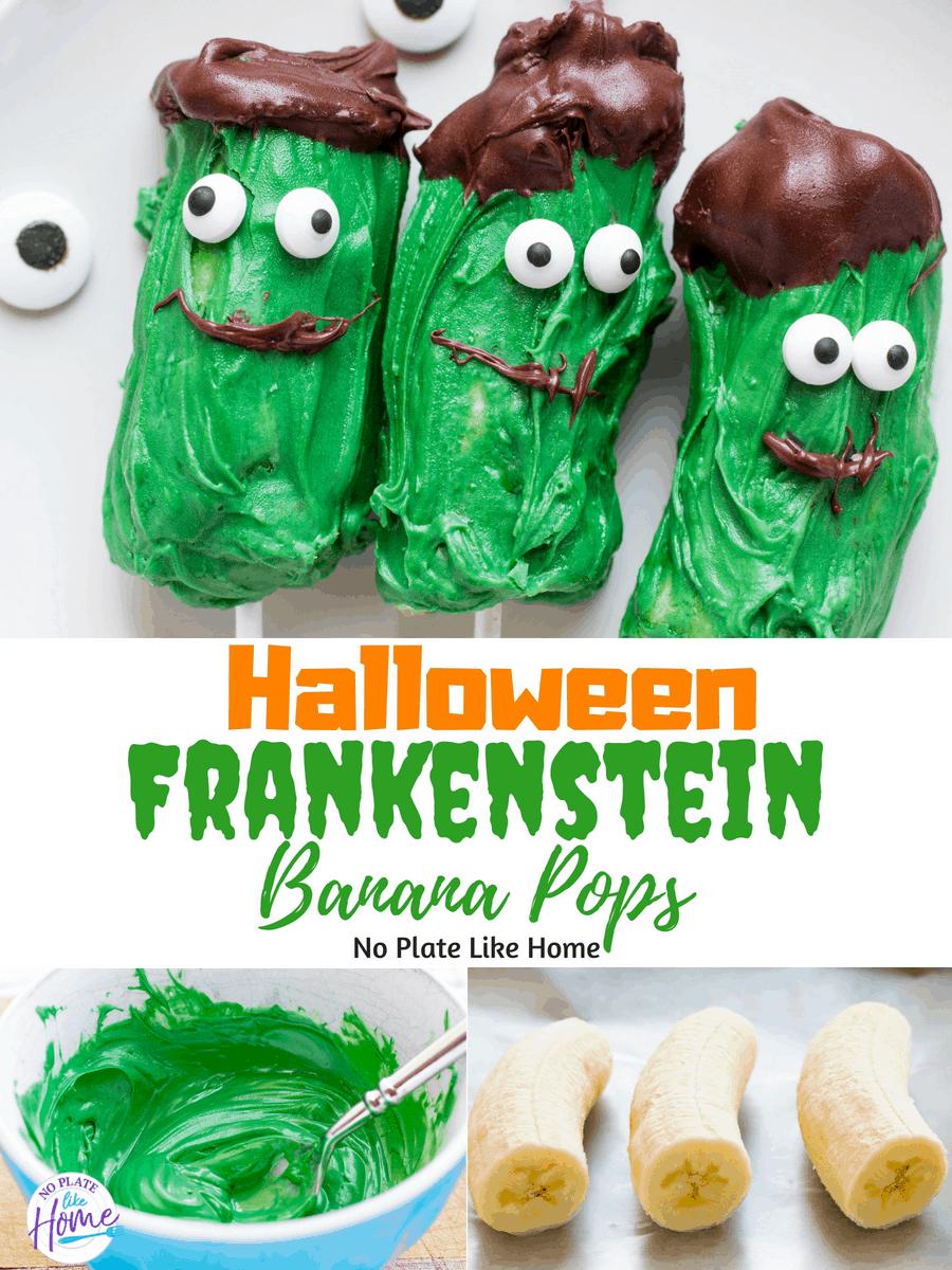 Frankenstein Banana Pops Halloween Kids Treats