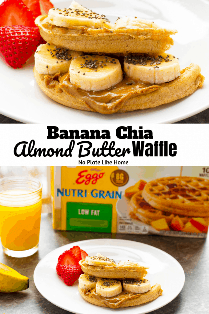 Need easy breakfast ideas to keep your New Year's Resolution to eat better? This tasty Banana Chia Almond Butter Waffle is a wholesome simple breakfast or a filling on the go protein snack you can travel with!