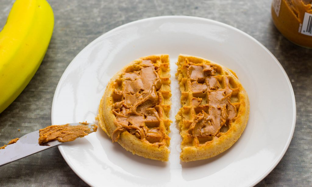 Banana Chia Almond Butter Waffle Snack is a deliciously simple, wholesome snack or breakfast you can take on the go made with Eggo Nutri-Grain Waffles.