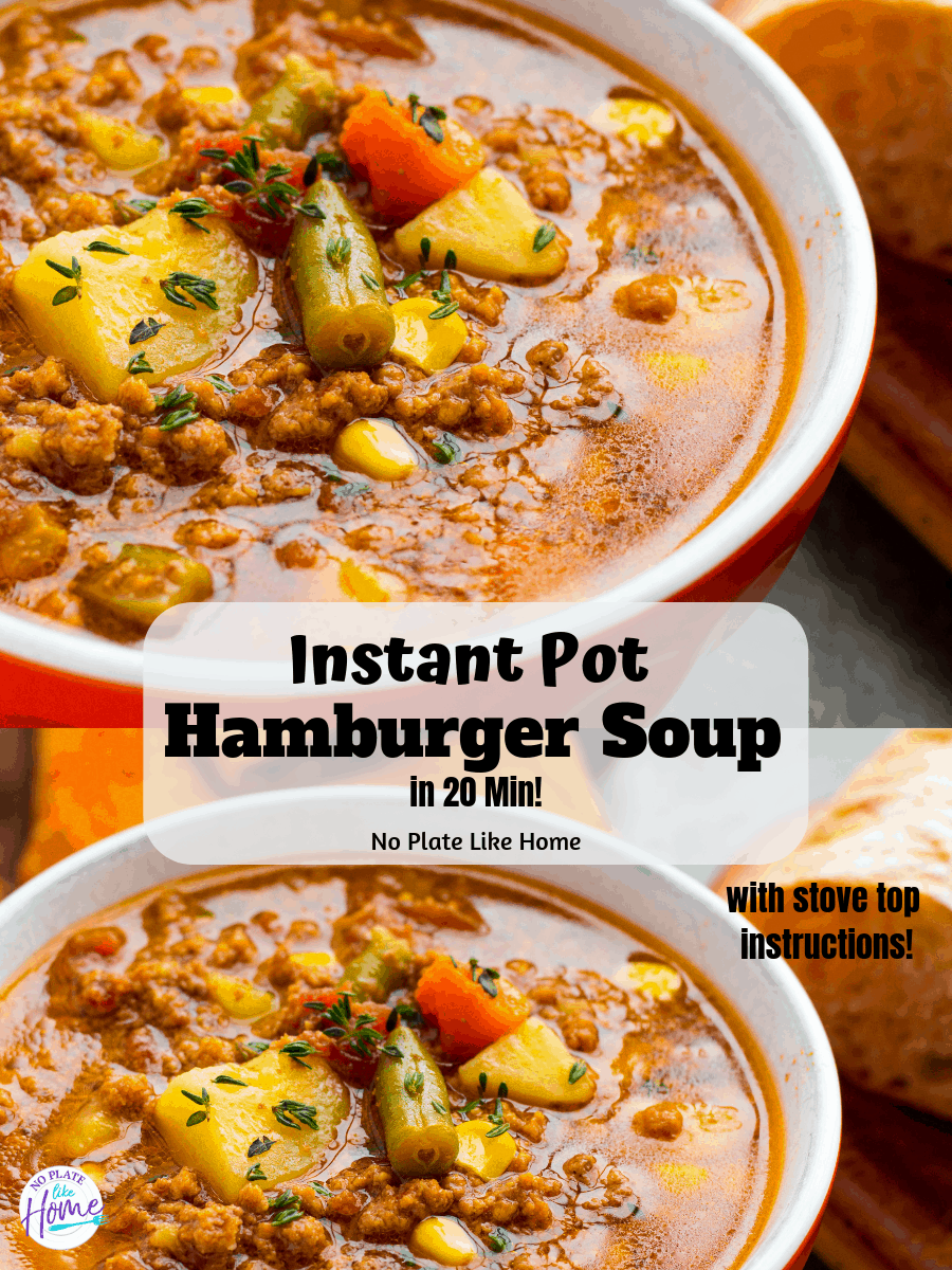 Make this frugal yet flavorful homemade Instant Pot Easy Hamburger Soup in 20 Min! Stove top and slow cooker instructions included! Nutritious weeknight meal!