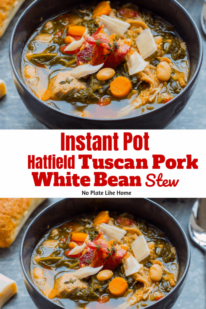 Make this easy Instant Pot Hatfield Tuscan Pork & White Bean Stew with a Hatfield Tuscan Herb Dry Rub Seasoned Pork Tenderloin! Slow cooker directions too!