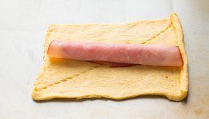 Bone-shaped ham and cheese crescent roll ups