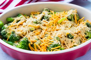 broccoli and cheese with bread crumb topping