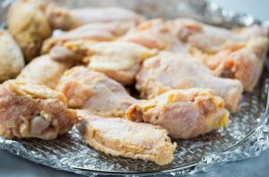 chicken wings coated with seasoning