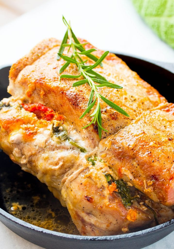 stuffed pork loin with spinach
