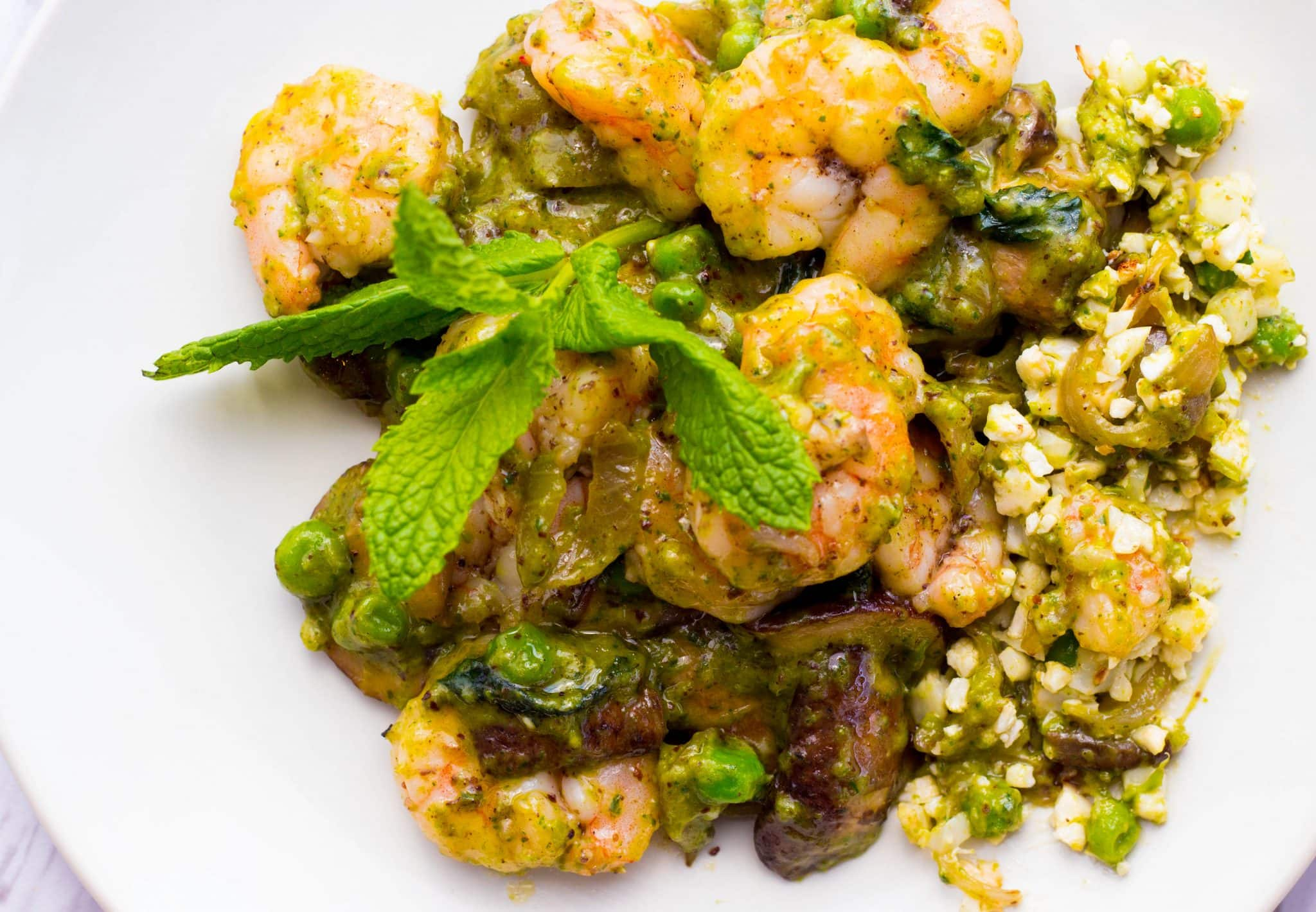 Sun Basket Shrimp and mushroom cauliflower with sweet pea pistou and mint