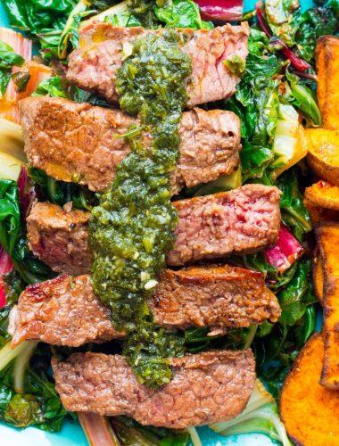 Sun Basket Steaks with chimichurri and harissa-roasted sweet potatoes